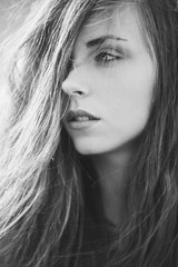 Black and white portrait of a beautiful young woman