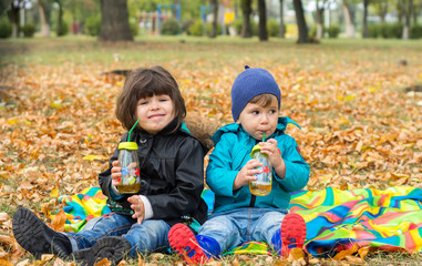 Happy children playing in beautiful autumn park on cold sunny fall day. Kids in warm jackets play with golden leaves and drink tea