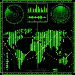 Radar screen with world map. Raster .