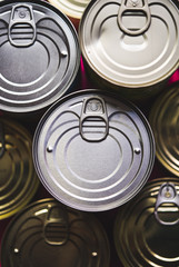 Background of various metal tin can
