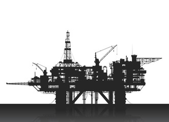 Sea oil rig. Oil platform in the deep sea.
