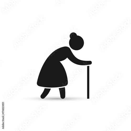 Quot Old Woman Icon Grandmother Silhouette Vector Icon Quot Stock