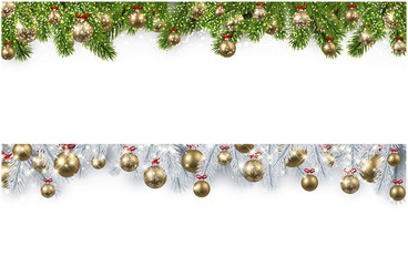 Christmas banner with spruce branches and balls.