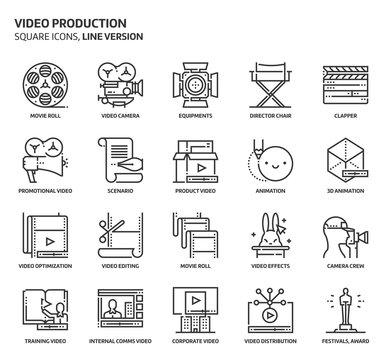 Video production, square icon set