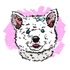 Portrait of a nice little pup like husky. Vector illustration EPS 10.