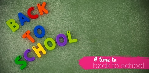 Composite image of back to school text with hashtag
