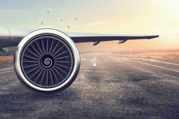 Emergency airplane landing. Mixed media