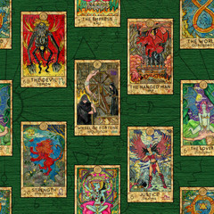 Seamless background with layout of colorful Tarot cards. Wicca and pagan concept