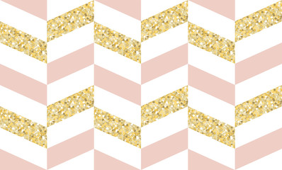 Vector Gold Glitter, Pink and White Geometric Herringbone Seamless Pattern. Elegant Background. Glamour Style Print. Vector Pattern Tile Swatch Included.