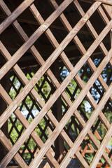 wooden lattice arbor