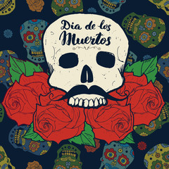 Day of the Dead, lettering quote with handdrawn skull and roses, vintage label, typography design or t-shirt print, vector illustration