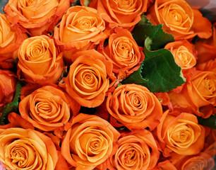 Fototapete - Flower background of bouquet roses in orange