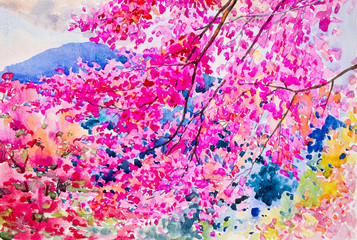 Colorful of wild  himalayan cherry on the beautyful mountain