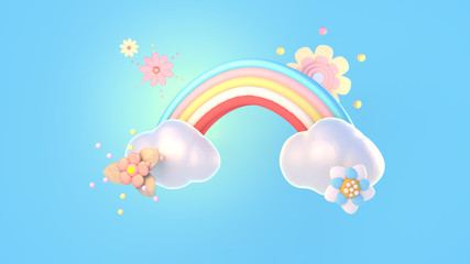 Cartoon rainbow, clouds and flowers, 3d rendering picture.
