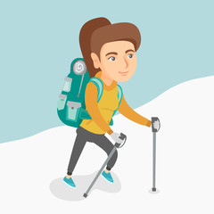 Caucasian mountaineer climbing a snowy ridge with help of hiking poles. Young mountaineer with a backpack and trekking poles walking up along a snowy ridge. Vector cartoon illustration. Square layout.