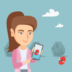 Young caucasian woman playing with her mobile phone outdoor. Cheerful woman playing action game on a smartphone. Woman using a smartphone for playing games. Vector cartoon illustration. Square layout.