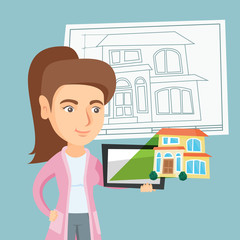 Young caucasian business woman showing a digital tablet with a house photo. Real estate agent holding a digital tablet with a house photo. Vector cartoon illustration. Square layout.