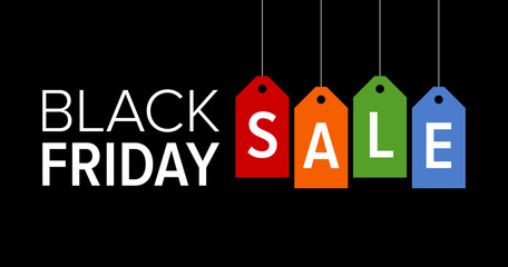 Black Friday sale promotional marketing banner / poster with colorful tags flat vector illustration