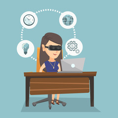 Caucasian business woman wearing virtual reality headset and working on a computer. Young smiling business woman using virtual reality device in the office. Vector cartoon illustration. Square layout.