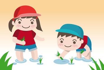 田植えのイラスト-幼稚園児の女の子と男の子(ベクター)