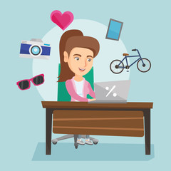 Young caucasian woman sitting in front of laptop and images of goods flying around her. Happy woman doing online shopping. Woman buying purchases online. Vector cartoon illustration. Square layout.