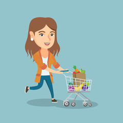 Caucasian woman running with a shopping trolley full of vegetables and fruit. Happy woman pushing a shopping trolley with healthy food. Vector flat design illustration isolated on white background.