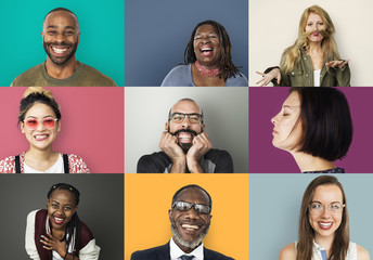 A studio portrait collage of diverse people Wall mural