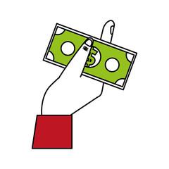hand holding dollar bills money icon image vector illustration design