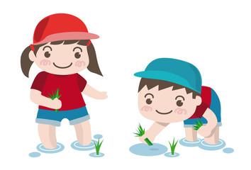 田植えのイラスト-幼稚園児の女の子と男の子(ベクター)白バックグラウンド版