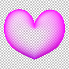 Pink heart on transparent background. Heart air balloon with transparent center.
