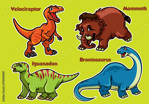 cartoon collection of dinosaurs