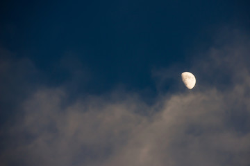Dramatic atmosphere of twilight sky and moon background.
