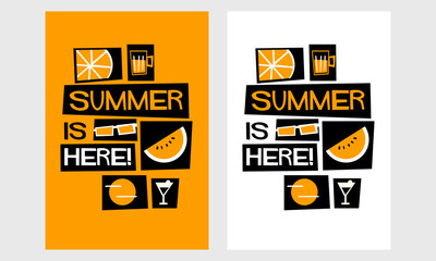 Summer Is Here! (Vector Illustration in Flat Style Poster Design)