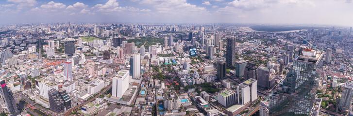 Aerial Panoramic Cityscape Shot Of Central Bangkok, Thailand