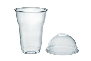 Plastic clear cup with dome lid isolated on white, clipping path