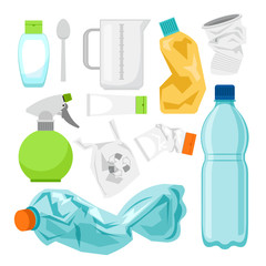 Plastic waste collection on white. Plastic bottles and another garbage, non-recyclable trash