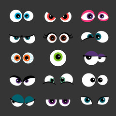 Eyes Set vector illustration. Funny comic monster eyes