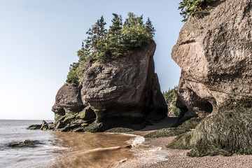 famous Hopewell Rocks geologigal formations at low tide biggest tidal wave Fundy Bay New Brunswick Canada