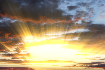 Dramatic sun rays and clouds