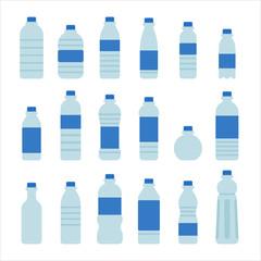 various shape water bottle vector flat design illustration set