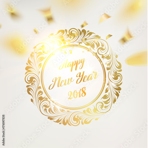 happy new year card gold template over gray background with golden confetti happy new