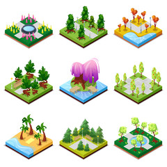 Public park landscapes isometric 3D set. Flower bed, sandy beach with palm trees, pool with water, lawn with green grass and decorative trees, park roads and benches, blue lake vector illustration.