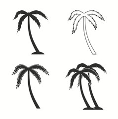 Palm tree icon set.