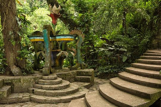 concrete structure in the jungle at Las Pozas Xilitla Mexico