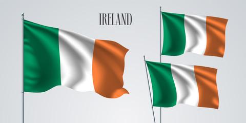 Ireland waving flag set of vector illustration