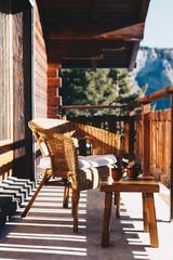 Fototapete - Morgen im Bergchalet
