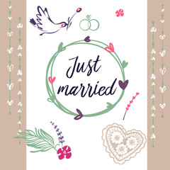 Hand drawn illustration  template postcard, banner, poster for just married. Bird with rose. Image for wedding agency, studio.