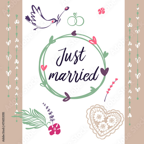 Hand Drawn Ilration Template Postcard Banner Poster For Just Married Bird With Rose Image Wedding Agency Studio