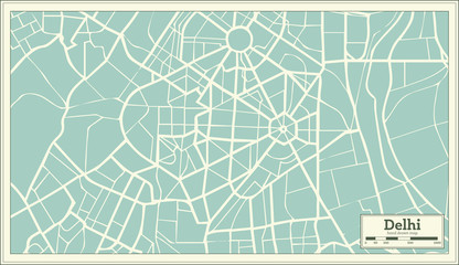 Delhi India Map in Retro Style.