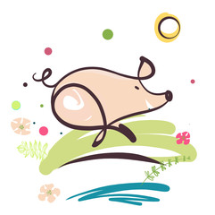 Sketch image of running pig. Element design illustration, poster